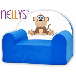 NELLYS Dětské křeslo  - Opička  modrá