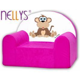 NELLYS Dětské křeslo  - Opička  růžová