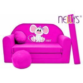 NELLYS Rozkládací dětská pohovka  ® Myška v růžovém