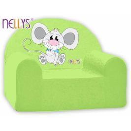 NELLYS Dětské křeslo  - Myška v zeleném