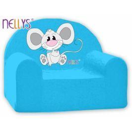 NELLYS Dětské křeslo  - Myška v modrém