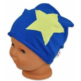 Baby Nellys Bavlněná čepička STARS  ® - tm. modrá, 48-50, 48/50
