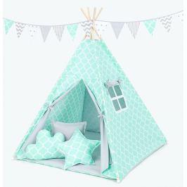 Stan pro děti teepee, týpí bez výbavy - maroko máta  / šedý