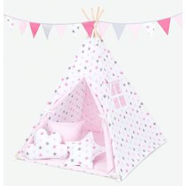 Baby Nellys Stan pro děti teepee, týpí s výbavou - hvězdy šedé a růžové/světle růžový