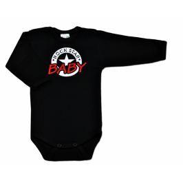 Vyrobeno v EU Body ROCK STAR BABY dlouhý rukáv - černé, 62 (2-3m)