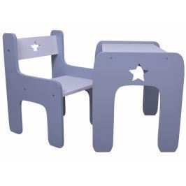 NELLYS Sada nábytku Star - Stůl + židle - šedá s bílou
