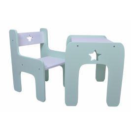 NELLYS Sada nábytku Star - Stůl + židle - máta s bílou
