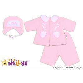 Baby Nellys Kabátek, čepička a kalhoty  ®- sv. růžová, 62 (2-3m)