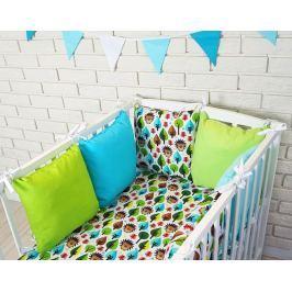 Baby Nellys Polštářkový mantinel s povlečením - ježeček, zelená/modrá, 120x90