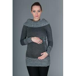 Dovoz EU Těhotenský svetřík/tunika Carmen - šedá s melirkem