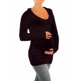 Dovoz EU Těhotenský svetřík, tunika s kapucí - černá