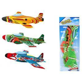 Teddies Letadlo házecí pěna/plast asst 3 barvy na kartě 19x53cm