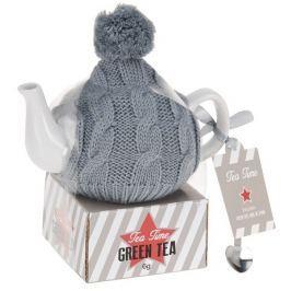 EXCELLENT Konvice na čaj v pletené čepici s balíčkem čaje vánoční edice