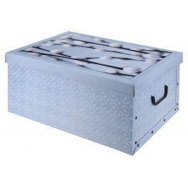 EXCELLENT Úložný box dekorativní design kůže modrý