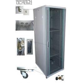 """Opticord 19"""" stojanový rozvaděč - skleněné dveře 42U 600x600 - černý"""