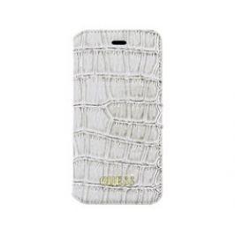 Guess Shiny Croco Book pouzdro iPhone 5S/SE, White Pouzdra, kryty a fólie