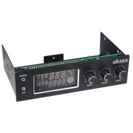 "AKASA kontrolní panel AK-FC-07BK do 5,25"" pro 3xfan, monitoring teploty, display"