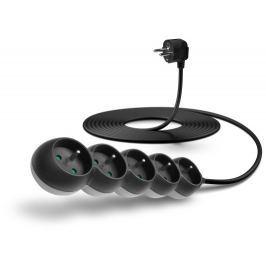 Connect IT prodlužovací kabel 230 V, 5 zásuvek, 5 m, bez vypínače (černý)