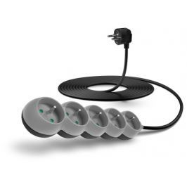 Connect IT prodlužovací kabel 230 V, 5 zásuvek, 5 m, bez vypínače (šedý)