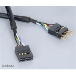 AKASA kabel prodlužovací pro HD a AC'97 AUDIO, 40cm, černý