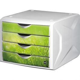 HELIT Zásuvkový box Chameleon, 4 zásuvky, bílo-zelená, plast,