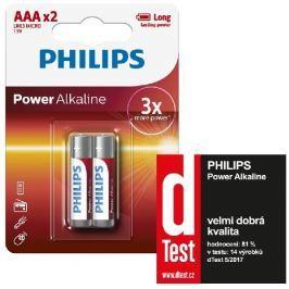 Philips baterie AAA Power Alkaline, alkalická - 2ks
