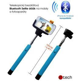 C-TECH Teleskopický selfie držák BT spoušť, modrá