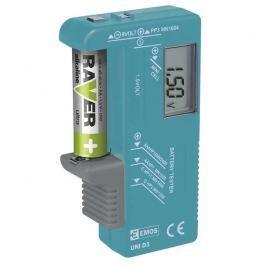 EMOS LCD tester baterií UNI D3 - AA, AAA, C,D, 9V a knoflíkové, LCD displej