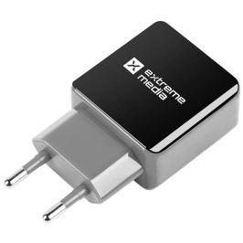 Natec Extreme Media Universal USB Charger 230V->USB 5V/1,2A, 1 port, black-grey