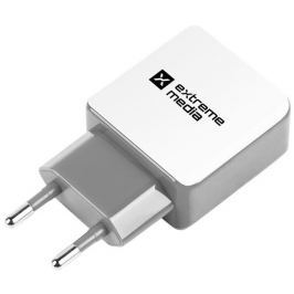 Natec Extreme Media Universal USB Charger 230V->USB 5V/2,1A, 2 port, white-grey