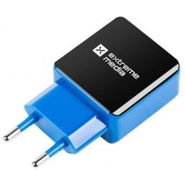 Natec Extreme Media Universal USB Charger 230V->USB 5V/2,1A, 2 port, black-blue