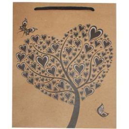 NO NAME Dárková taška, hnědá, srdce, 33x24x8 cm