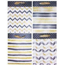 NO NAME Dárková taška, třpytky, proužky, 4 různé vzory, 18x10x23 cm