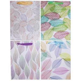 NO NAME Dárková taška, listy, 4 různé vzory, 26x10x32 cm