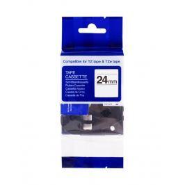 PRINTLINE kompatibilní páska s Brother, TZE-S251,24mm, černý tisk/bílý podklad,