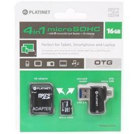 Platinet 4-in-1 microSD 16GB + čtečka paměťových karet + OTG + ADAPTER
