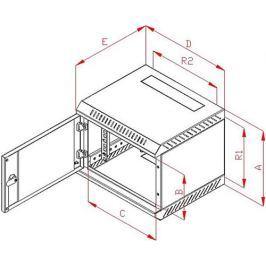 """TRITON Rack  10"""" jednodílný 9U/260mm prosklené dveře, šedý"""