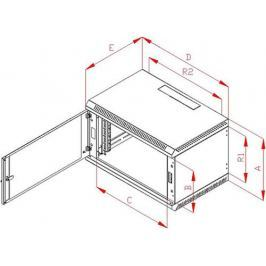 """TRITON Rack  19"""" jednodílný 9U/400mm prosklené dveře, šedý"""