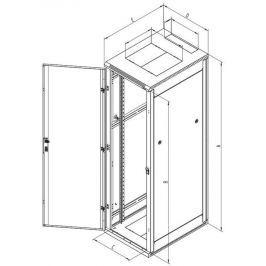 """TRITON 19"""" rozvaděč stojanový 42U/800x600 dveře  a zadní kyt  síto 80%-6mm RAL70"""