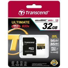 Transcend 32GB microSDHC UHS-I U3 633x Ultimate (Class10) MLC paměťová karta s a