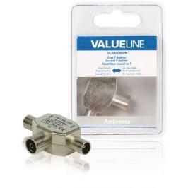 Valueline VLSB40950M - Koaxiální adaptér Koax zásuvka - 2x Koax zástrčka Stříbrn