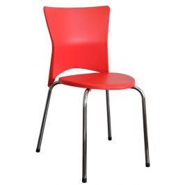 Tempo Kondela Jídelní židle , chrom + plast , červená , BRISA Židle