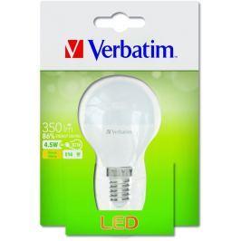 Verbatim LED žárovka , E14 4,5W 350lm (30W), typ Mini Globe, matná, teplá bílá LED osvětlení
