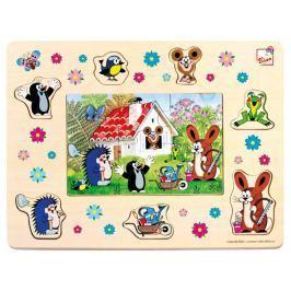 BINO 13802 Dřevěná vkládačka + puzzle: Krtek a přátelé Puzzle