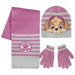 Sada šála, rukavice, čepice - Tlapková Patrola růžová