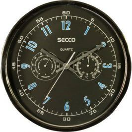SECCO Nástěnné hodiny, chrom, 30 cm, barometr, teploměr,