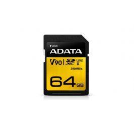 ADATA Premier ONE SDXC karta 64GB UHS-II U3 CL10 (čtení/zápis: až 290/260MB/s)