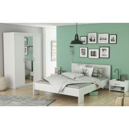 Tempo Kondela Ložnicový komplet (3-dveřová skříň + postel + 2x noční stolek), bílá, ambian