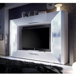 Tempo Kondela TV a media stěna, DTD laminovaná, MDF s extra vysokým leskem, bílá, EDGE