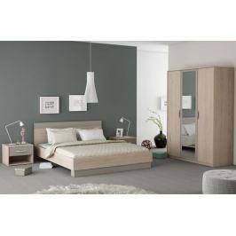 Tempo Kondela Ložnicový komplet (skříň + postel + 2x noční stolek), dub arizona / šedá, GRAPHI